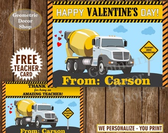 Cement Truck Valentine Cards / Valentines Card / Personalized Valentine Kids / Valentine Tags / construction / boy / cars / teacher / VCard4