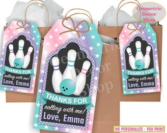 Thank you cards Bowling Favor tags digital gift Decoration birthday printable DIY Pink Purple Teal Aqua card tag Girl Birthday Party FTB4