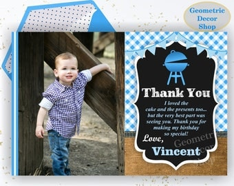 BBQ Thank you card Barbecue Birthday Party card Barbeque Digital Party Printable Photo Photograph burlap Rustic Chalkboard THBBQ1