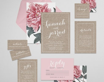 Peony Printable Wedding Invitation Suite . Wedding Invitation, Printable Invite, DIY Wedding Invitation, Printable DIY Invite, Affordable