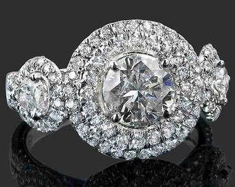 3.23 TCW Round Cut Diamond Engagement Ring, Round Diamond Engagement Ring, Round Diamond Ring, Double Halo Diamond Ring, 18k White Gold Ring