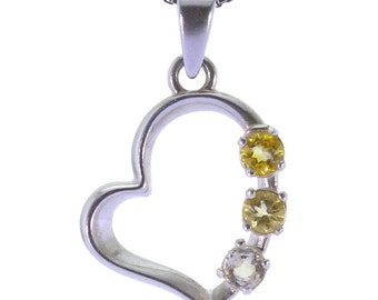 Citrine Pendant, 925 Sterling Silver. color yellow, weight 1.5g, #34327