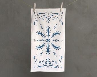 Blue Paisley Tea Towel with Screen Printed Pattern | Dish Towel | Kitchen Towel | Dish Cloth