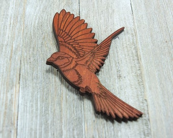 Laser cut Wood Hair clip / Bird