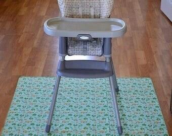 Bundle of 2- Splat Mats / Art  Mat - Baby High Chair Washable Protection - Choose Your Patttern