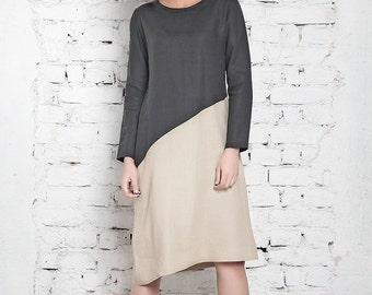 NEW Midi Dress / Mod Shift Dress / Linen Dress/ Party Dress / Sweater Dress / Knee Length Dress / Plus Size Dress / Designer Dress