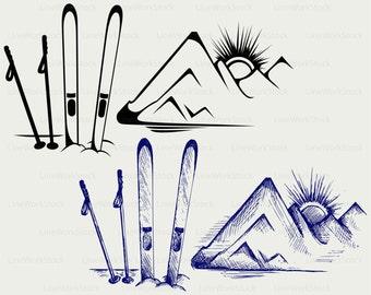 Ski equipment svg,mountains clipart,ski equipment svg,ski equipment silhouette,cricut,cut files,clip art,digital download designs,svg,dxf