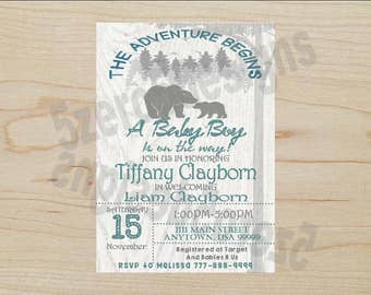Outdoor baby shower Invitation, Baby Shower Invitation, Bear baby shower Invitation, woods baby shower invitation, Baby Bear Baby Shower