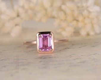 5x7mm emerald cut Pink Sapphire Engagement Ring, Natural Pink Sapphire,14K Rose Gold,Diamond Wedding Band,Pink Engagement Ring,Bride Ring
