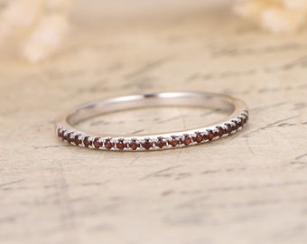 garnet wedding band half eternity band garnet engagement ring garnet pave wedding band wedding ring 14k - Garnet Wedding Ring