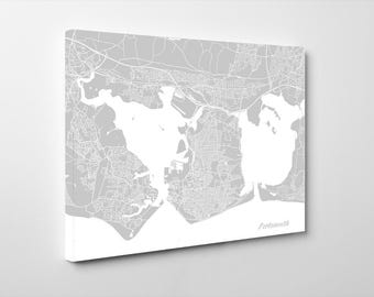 Portsmouth Street Map Print English City Street Map Poster Minimalist Home Decor Wall Art 7015L