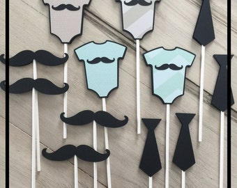 Baby Shower Cupcake Toppers, Baby Boy Shower Decorations, Mustache Baby  Shower, Little Man