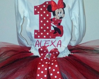 Red Minnie Mouse 1st Birthday Outfit Minnie Mouse 1st Birthday Outfit Minnie Mouse Shirt Minnie Mouse 1st Birthday Shirt Personalized Shirt