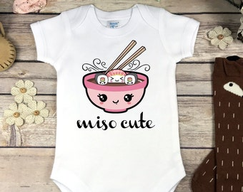 Miso Cute Onesie® Shirt or Bodysuit, Cute Baby Clothes Baby Girl or Boy Sushi Onesie Sushi Baby Shower Gift Miso Soup Onsie Japanese Design