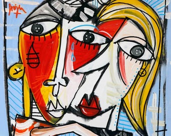 painting the kiss, picasso style, modern paintings Italian artist, pop art, oil on canvas, decor