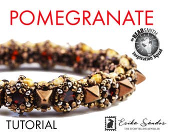 POMEGRANATE bracelet - instant download for the pdf instructions. Bracelet with True2, fire polished beads, pyramid beads, cabochons