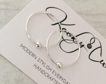 Sterling Silver Sparkle Bead Hoop Earrings/Delicate/Minimalist/Bead/Sterling Silver/Sleeper Style Hoop/Earrings/Everyday Wear/Gift/Bridal