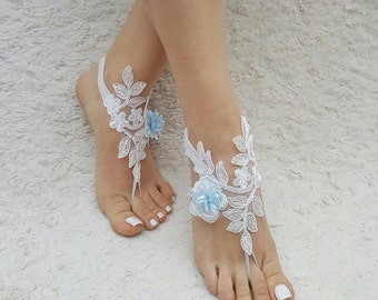 lace barefoot sandals beach lace barefoot white lace barefoot blue flower barefoot white lace anklet beach lace shoes wedding barefoot