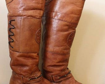 90's Vintage Women's Brown Leather Boho Knee-High Boots Size 9