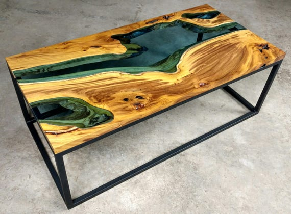 Madre Cacao Live Edge Wood Slab with Blue Glass River Coffee