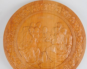 Last supper plate, Wooden icon, Hand carved icon, Last supper plaque, Last supper icon, Wooden last supper, Last supper carving, home decor