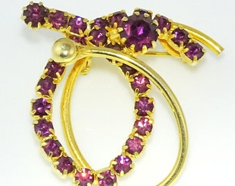 Vintage Brooch Pin Purple Stones Gold Tone