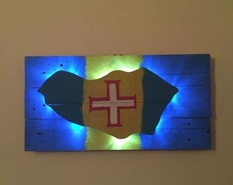 Maderia flag wall art backlit