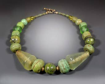 Green Hebron Beaded Necklace