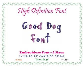 Embroidery font Good dog 8 size
