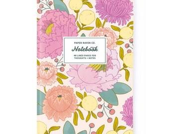 Notebook - Principessa Bright Floral Notebook - Journal - Daily Jotter - Pink Floral Notebook