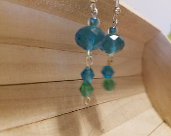 Green and blue glass bead earrings