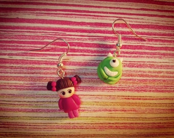 Pair of earrings of Mike Wazowski and Boo from monsters S.A. Disney Pixar in fimo. Earrings Mike Wazowski and Boo Monsters S.A. of polymer clay
