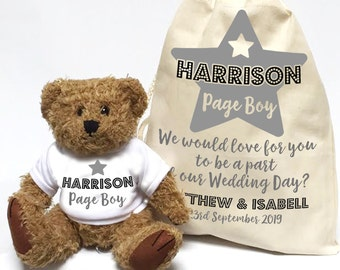 Will you be our Page Boy, wedding day Teddy Bear, personalised. Page boy star wedding day gift.