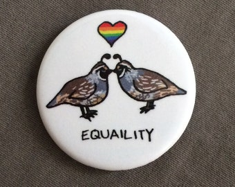 """1.25"""" Button - """"Equality"""" - LGBT/Queer Pride Wear"""
