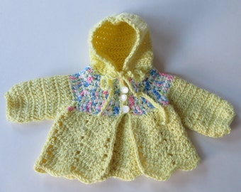 Crocheted Baby Sweater, Baby Yellow Sweater, Baby Shower Gift, Hooded Baby Sweater, Baby Girl Sweater, Baby Sweater, Ready To Ship