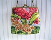 "Gray Red Orange Geranium Hyacinth Spring Floral Vintage Barkcloth Fabric 8"" Antique Brass Kisslock Frame Crossbody Shoulder Bag Purse"
