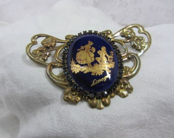 Hand Crafted Recycled Vintage Jewelry Brooch Featuring Limoges Gold Transfer on Royal Blue Cabochon