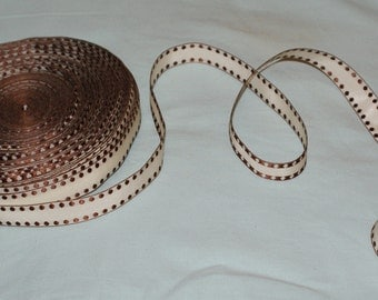 15 mm cream/brown woven ribbon-2 metres