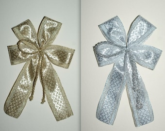 5 large bows-gold or silver-with rope/cord-christmas/wedding/birthday decoration-handmade