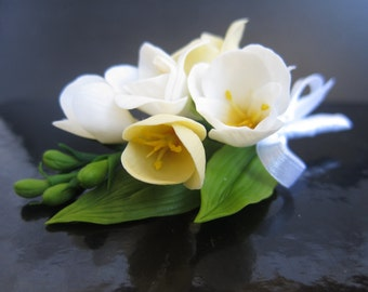 Freesia blossom brooch, bridal flower boutonniere, blossom boutonniere, wedding  clay flowers, flower comb,cold porcelain