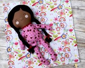 "18"" Sleepy Time Pajama Baby Dress up Doll - Soft Fabric Doll - Pretend Play - African American Doll"