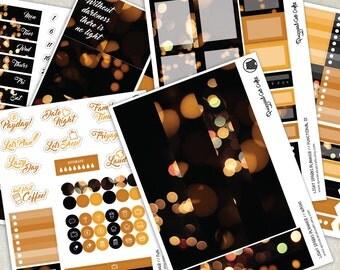 Night Lights Planner Stickers // Erin Condren Sticker Kit // Sparks // Vertical planner // Photography bokeh journal set
