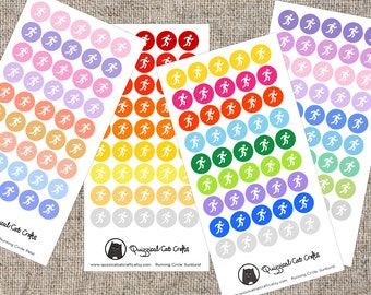 Running Sticker // Colourful fitness tracker / Exercise, jog and sports illustrated planner sticker