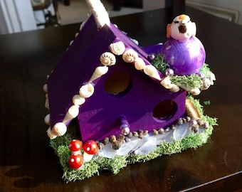 Purple Fairy House with Bird