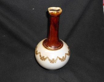 """Vintage Ceramic Cruet 8.5"""" Two Spout or Vase Browns Beige Scalloped Floral Botanical Design"""