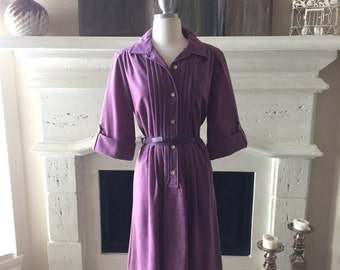 EVERYTHING ON SALE Allison Paige ~ 60s ~ Vintage Purple Suede Inspired Belted Dress ~ Size 16