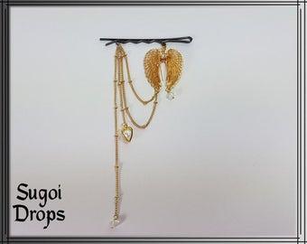 Hair clip golden wings