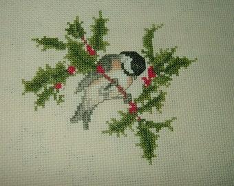 Completed Cross Stitch~Holiday Chickadee