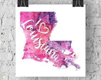 I Heart Louisiana Map Art Print, I Love Louisiana Watercolor Home Decor Map Painting, LA Giclee US State Art, Housewarming Gift, Moving Gift