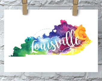 Custom Kentucky Map Art, Kentucky Watercolor Heart Map Home Decor, Louisville or Your City Hand Lettering, Personalized Print, 5 Colors